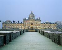 A frost covered view of the south front of Castle Howard with the Atlas fountain by W.A. Nesfield in the foreground