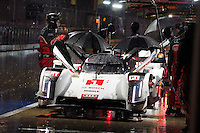 Lucas Di Grassi / Loic Duval / Tom Kristensen of Audi Sport Team Joest (1) LMP1 - H Audi R18 e-tron quattro during FIA World Endurance Challenge free practice #2, Thursday, September 18, 2014 in Austin, Tex. (Gary Faulkenberry/TFV Media via AP Images)