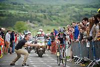 obnoxious 'fan' with GoPro  hinders Pirmin Lang (SHE/IAM) up La Redoute (max 22%) <br /> <br /> Liège-Bastogne-Liège 2014