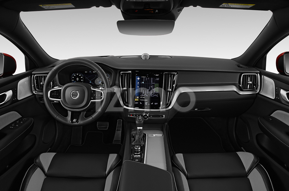 Stock photo of straight dashboard view of a 2019 Volvo S60 R-Design 4 Door Sedan
