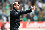 St Johnstone v Celtic…20.08.16..  McDiarmid Park  SPFL<br />Brendan Rodgers gives instructions to tighten up play<br />Picture by Graeme Hart.<br />Copyright Perthshire Picture Agency<br />Tel: 01738 623350  Mobile: 07990 594431