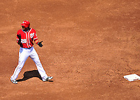 23 August 2009: Washington Nationals' outfielder Mike Morse connects for a double in the second inning against the Milwaukee Brewers at Nationals Park in Washington, DC. The Nationals defeated the Brewers 8-3 to take the third game of their four-game series, snapping a five games losing streak. Mandatory Credit: Ed Wolfstein Photo
