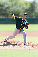 Oakland Athletics relief pitcher Bryce Nightengale (46) delivers a pitch during an Instructional League game against the Los Angeles Dodgers at Camelback Ranch on September 27, 2018 in Glendale, Arizona. (Zachary Lucy/Four Seam Images)
