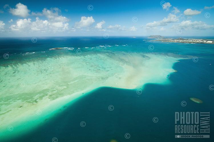 An aerial view of the Kane'ohe Sandbar, with Marine Corps Base Hawai'i to the right, Windward O'ahu.