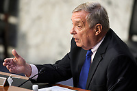United States Senate Minority Whip Dick Durbin (Democrat of Illinois) during a US Senate Judiciary Committee business meeting prior to the fourth day for the confirmation hearing of President Donald Trump's Supreme Court nominee Judge Amy Coney Barrett on Thursday, October 15, 2020.<br /> Credit: Greg Nash / Pool via CNP /MediaPunch