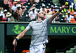 April 1 2018: John Isner (USA) defeats Alexander Zverev (GER) by 6-7 (4), 6-4, 6-4, at the Miami Open being played at Crandon Park Tennis Center in Miami, Key Biscayne, Florida. ©Karla Kinne/Tennisclix/CSM