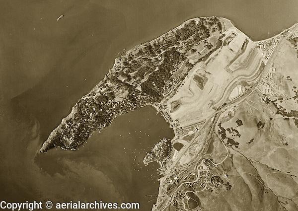 historical aerial photograph Belvedere Island Marin County California 1946