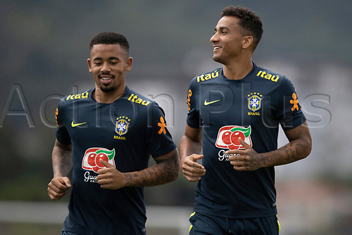 10th November 2020; Granja Comary, Teresopolis, Rio de Janeiro, Brazil; Qatar 2022 qualifiers; Gabriel Jesus and Danilo of Brazil during training session in Granja Comary