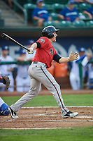 Drew Mount (8) of the Billings Mustangs bats against the Ogden Raptors at Lindquist Field on August 18, 2018 in Ogden, Utah. Billings defeated Ogden 6-4. (Stephen Smith/Four Seam Images)