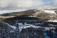A view of the Little Belt mountains from Showdown Ski Area on King's Hill in the Little Belt Mountains near Neihart, Montana, USA.