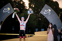 Closing Podium Ceremony: Tadej Pogačar (SVN/UAE-Emirates) (also) takes the Polka Dot Jersey home as the overall KOM winner<br /> <br /> Stage 21 from Mantes-la-Jolie to Paris (122km)<br /> <br /> 107th Tour de France 2020 (2.UWT)<br /> (the 'postponed edition' held in september)<br /> <br /> ©kramon