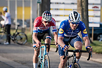 Florian Sénéchal (FRA/Deceuninck - Quick Step) & Mathieu Van der Poel (NED/Alpecin-Fenix) in the race finale with 3km to go<br /> <br /> 53rd Le Samyn 2021<br /> ME (1.1)<br /> 1 day race from Quaregnon to Dour (BEL/205km)<br /> <br /> ©kramon