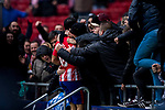 Diego Costa of Atletico de Madrid celebrates with the fans during the La Liga 2017-18 match between Atletico de Madrid and Getafe CF at Wanda Metropolitano on January 06 2018 in Madrid, Spain. Photo by Diego Gonzalez / Power Sport Images