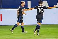 CARSON, CA - OCTOBER 14: Tommy Thompson #22 of the San Jose Earthquakes celebrates a goal during a game between San Jose Earthquakes and Los Angeles Galaxy at Dignity Heath Sports Park on October 14, 2020 in Carson, California.