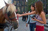 July 24, Montreal, Quebec, Canada<br /> <br /> Model released  illustration photo, of  2 young asian (japanese) women, playing with a (carriage's) horse in Montreal.<br /> <br /> Mandatory Credit: Photo by Pierre Roussel- Images Distribution. (©) Copyright 2002 by Pierre Roussel <br /> <br /> NOTE : <br />  Nikon D-1 jpeg opened with Qimage icc profile, saved in Adobe 1998 RGB<br /> .Uncompressed  Original  size  file availble on request.