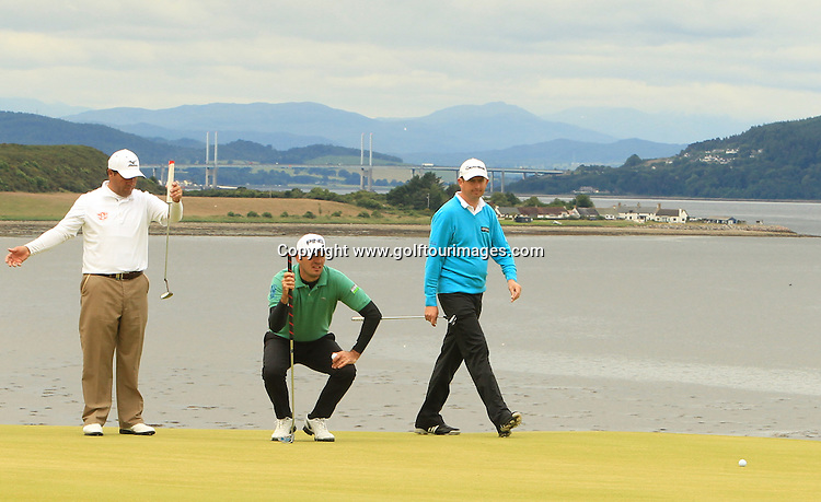 Ricardo Gonzalez (L) Gregory Havret ( c) and Peter Lawrie (r)  during the second round of the 2012 Aberdeen Asset Management Scottish Open being played over the links at Castle Stuart, Inverness, Scotland from 12th to 14th July 2012:  Stuart Adams www.golftourimages.com:13th July 2012