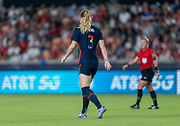 HOUSTON, TX - JUNE 13: Samantha Mewis #3 of the USWNT looks to the ball during a game between Jamaica and USWNT at BBVA Stadium on June 13, 2021 in Houston, Texas.