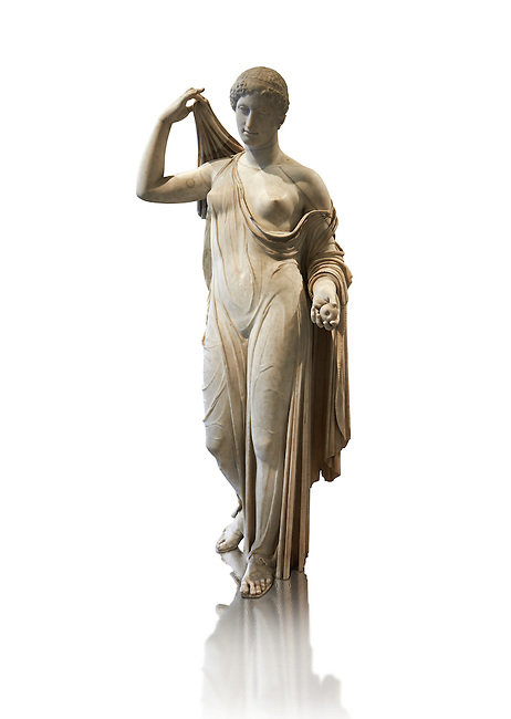 """Aphrodite of Fréjus in the style known as """"Venus Genetrix"""". A 1.64m high Roman statue, dating from the end of the 1st century BC to the start of the 1st century AD, in Parian marble, was discovered at Fréjus (Forum Julii) in 1650. It is considered as the best Roman copy of the lost Greek work. Louvre Museum, Paris<br /> <br /> The Venus Genetrix style of statue depicts Aphrodite (Venus to the Romans) as Genetrix ( Latin for Mother). This sculptural type was adopted by the Julia-Claudian dynasty after Julius Caesar claimed that he was defended from Venus herself.  The original lost Greek statue is attributed to Greek sculpture Callimachus who created a Bronze Aphrodite in 420-410. According to Pliny's Natural History showing her dressed in a light but clinging chiton or peplos, which was lowered on the left shoulder to reveal her left breast and hung down in a sheer face and decoratively carved so as not to hide the outlines of the woman's body. Venus was depicted holding the apple won in the Judgement of Paris in her left hand, whilst her right hand moved to cover her head. From the lost bronze original are derived all surviving copies. The composition was frontal, the body's form monumental, and in the surviving Roman replicas its proportions are close to the Polyclitean, an ancient Greek sculptor in bronze of the fifth century BC."""