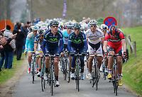 Liège-Bastogne-Liège 2013..BMC & Movistar set the pace up the Côte de Stockeu (Stèle Eddy Merckx).