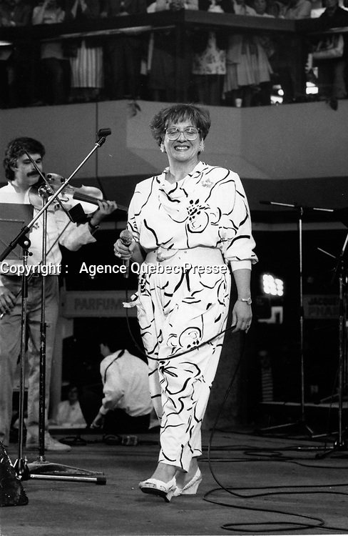 Montreal (Qc) CANADA - ca 1985 File Photo -Angele Arsenault<br /> <br /> PHOTO :  Agence Quebec Presse