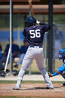 New York Yankees right fielder Jhalan Jackson (56) at bat during a minor league Spring Training game against the Toronto Blue Jays on March 30, 2017 at the Englebert Complex in Dunedin, Florida.  (Mike Janes/Four Seam Images)