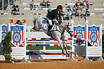 October 17, 2021: Joe Meyer (NZL), aboard Harbin, competes during the Stadium Jumping Final at the 3* level during the Maryland Five-Star at the Fair Hill Special Event Zone in Fair Hill, Maryland on October 17, 2021. Jon Durr/Eclipse Sportswire/CSM