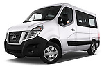 Stock pictures of low aggressive front three quarter view of 2016 Nissan NV400-Combi l1h1-Optima 5 Door Passenger Van Low Aggressive
