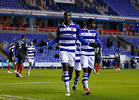 10th February 2021; Madejski Stadium, Reading, Berkshire, England; English Football League Championship Football, Reading versus Brentford; Lucas Joao of Reading celebrates with Omar Richards of Reading after scoring his sides 1st goal in the 25th minute to make it 1-0 from a penalty kick