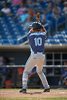West Michigan Whitecaps left fielder Garrett McCain (10) at bat during a game against the Quad Cities River Bandits on July 23, 2018 at Modern Woodmen Park in Davenport, Iowa.  Quad Cities defeated West Michigan 7-4.  (Mike Janes/Four Seam Images)