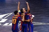 9th October 2020; Palau Blaugrana, Barcelona, Catalonia, Spain; UEFA Futsal Champions League Finals; FC Barcelona versus MFK KPRF;  Lozano celebrates with team mates after scoring his goal