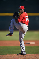 Los Angeles Angels pitcher Luis Pena (70) during an instructional league game against the Oakland Athletics on October 9, 2015 at the Tempe Diablo Stadium Complex in Tempe, Arizona.  (Mike Janes/Four Seam Images)