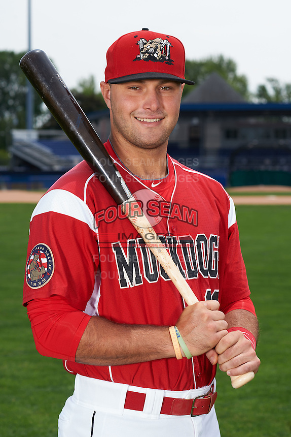 Batavia Muckdogs third baseman Ryan Cranmer (12) poses for a photo on July 8, 2015 at Dwyer Stadium in Batavia, New York.  (Mike Janes/Four Seam Images)