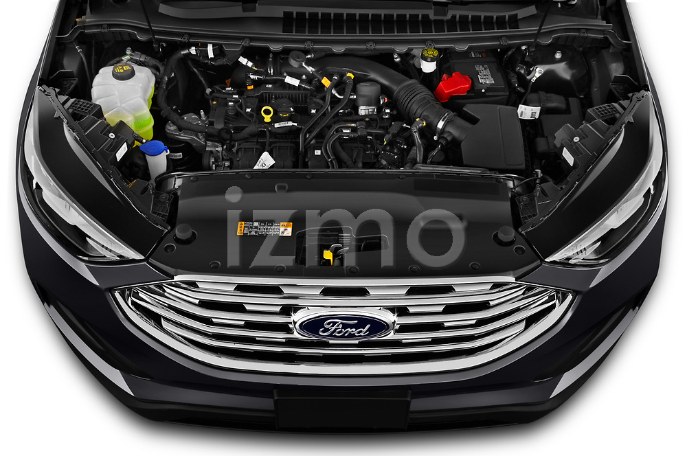 Car Stock 2020 Ford Edge SE 5 Door SUV Engine  high angle detail view