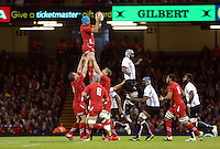 Pictured: Justin Tipuric of Wales (C) catches the ball from a line out. Saturday 15 November 2014<br />