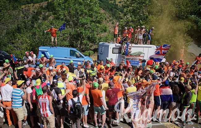 Robert Gesink (NLD/LottoNL-Jumbo) experiencing the craziness at the Dutch Corner (nr7) up Alpe d'Huez<br /> <br /> stage 20: Modane Valfréjus - Alpe d'Huez (111km)<br /> 2015 Tour de France
