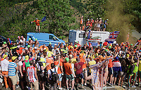 Robert Gesink (NLD/LottoNL-Jumbo) experiencing the craziness at the Dutch Corner (nr7) up Alpe d'Huez<br /> <br /> stage 20: Modane Valfréjus - Alpe d'Huez (111km)<br /> 2015 Tour de France