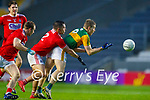 Peter Crowley, Kerry in action against Sean Powter, Cork, during the Munster GAA Football Senior Championship Semi-Final match between Cork and Kerry at Páirc Uí Chaoimh in Cork.