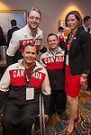 Calgary, AB - June 5 2014 - Adam Dixon, Graeme Murray and Karl Ludwig with Monique Giroux from CIBC during the Celebration of Excellence Paralympic Ring Reception in Calgary. (Photo: Matthew Murnaghan/Canadian Paralympic Committee)
