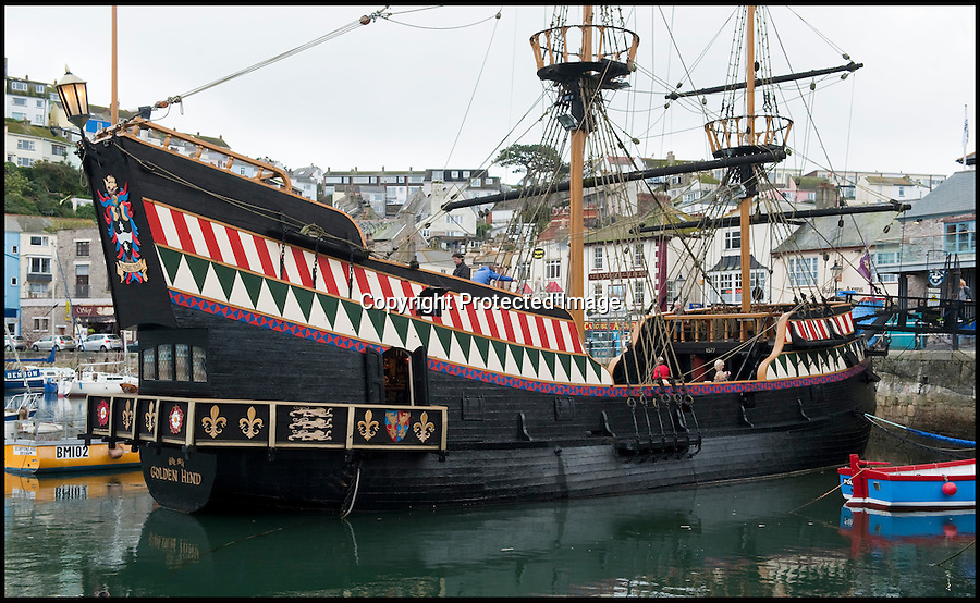 BNPS.co.uk (01202 558833)<br /> Pic: PhilYeomans/BNPS<br /> <br /> Pirates beware - the tiny ship is equipped with six cannons.<br /> <br /> Yours for £360k - Full size replica of Sir Francis Drake's legendary ship the Golden Hind.<br /> <br /> Sir Francis Drake's famed Elizabethan galleon, in which he circumnavigated the globe, is a floating museum in Brixham harbour in Devon.<br /> <br /> The 120ft wooden ship is an exact remake of the flagship which Drake sailed round the world from 1577 to 1580, the first Englishman ever to circumnavigate the globe.<br /> <br /> The boat, which was built in 1988, is the second of two replica Golden Hinds which have taken pride of place in Brixham, Devon, since the 1954.<br /> <br /> The current owner, Simon Read, inherited the boat from his father John who bought the original replica in 1970 and ran it until 1988 when it was replaced by a new version.<br /> <br /> Above decks it boasts two square-rigged masts each with iconic 'crow's nests', and six canons.
