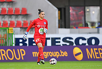 Gent's goalkeeper Nicky Evrard (1)  pictured during a female soccer game between Zulte Waregem and the KAA Gent Ladies on the fourth matchday of the 2020 - 2021 season of Belgian Scooore Womens Super League , saturday 10 October 2020  in Waregem , Belgium . PHOTO SPORTPIX.BE | SPP | DAVID CATRY