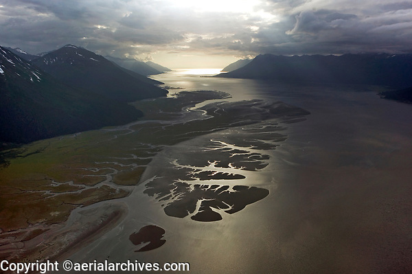 aerial photograph of Turnagain Arm toward the Gulf of Alaska near, Anchorage, Alaska
