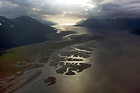aerial photograph of Turnagain Arm toward the Gulf of Alaska near, Anchorage, Alaska