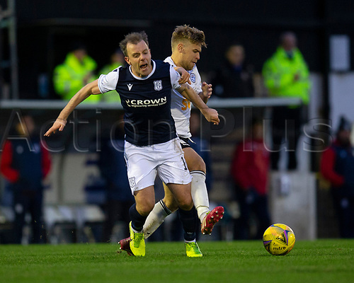 21st November 2020; Somerset Park, Ayr, South Ayrshire, Scotland; Scottish Championship Football, Ayr United versus Dundee FC; Paul McGowan of Dundee is fouled by Andy Murdoch of Ayr United