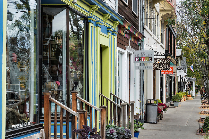 Shops in village of Rhinebeck, New York, USA