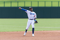 Glendale Desert Dogs shortstop Errol Robinson (3), of the Los Angeles Dodgers organization, throws during an Arizona Fall League game against the Scottsdale Scorpions at Camelback Ranch on October 16, 2018 in Glendale, Arizona. Scottsdale defeated Glendale 6-1. (Zachary Lucy/Four Seam Images)