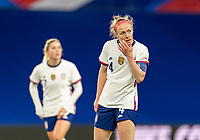 LE HAVRE, FRANCE - APRIL 13: Becky Sauerbrunn #4 of the USWNT listens to her coaches during a game between France and USWNT at Stade Oceane on April 13, 2021 in Le Havre, France.