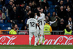 Real Madrid's (L-R) Marcelo Vieira, Brahim Diaz and Francisco Alarcon 'Isco' celebrate goal during La Liga match between Real Madrid and SD Huesca at Santiago Bernabeu Stadium in Madrid, Spain.March 31, 2019. (ALTERPHOTOS/A. Perez Meca)