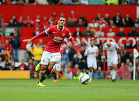 Pictured: Chris Smalling of Manchester United. Saturday 16 August 2014<br /> Re: Premier League Manchester United v Swansea City FC at the Old Trafford, Manchester, UK.
