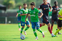 LAKE BUENA VISTA, FL - JULY 14: Raul Ruidiaz #9 of the Seattle Sounders dribbling the ball during a game between Seattle Sounders FC and Chicago Fire at Wide World of Sports on July 14, 2020 in Lake Buena Vista, Florida.