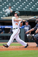 Michael Burns (44) of the Miami Hurricanes connects on a solo home run against the Georgia Tech Yellow Jackets during Game One of the 2017 ACC Baseball Championship at Louisville Slugger Field on May 23, 2017 in Louisville, Kentucky.  The Hurricanes walked-off the Yellow Jackets 6-5 in 13 innings. (Brian Westerholt/Four Seam Images)